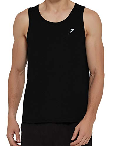 DEMOZU Men's Workout Tank Top Lightweight Quick Dry Running Athletic Bodybuilding Muscle Performance Gym Tank Top,Black,L
