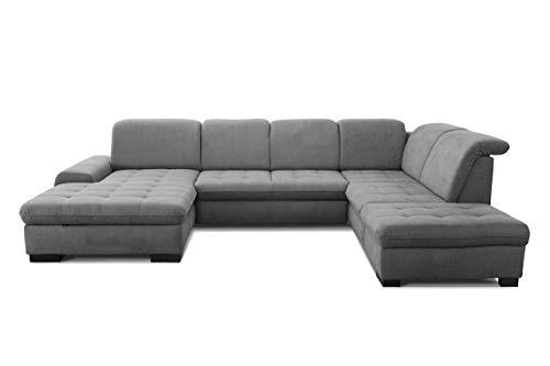 CAVADORE U-Form Lexi mit XXL-Longchair / Inkl. Bett, Bettkasten, Stauraum und Kopfteilfunktion / Leichte Fleckenentfernung dank Soft Clean / 329 x 82-99 x 224 / Flachgewebe: Grau
