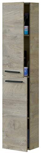 Miroytengo Columna baño Athena 2 Puertas Aseo Roble Alaska Industrial Moderno almacenaje Mueble 150x30x25 cm
