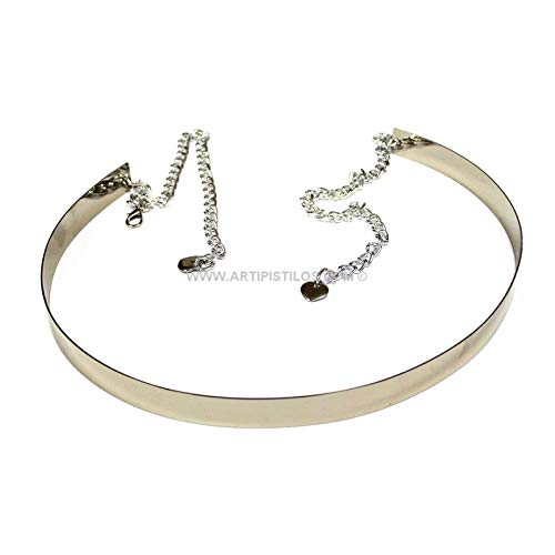 Artipistilos® metalen riem met ketting en hart - 2 cm breed, zilver - riem