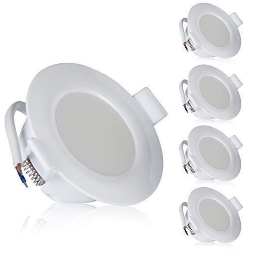 TEVEA PREMIUM LED Einbauleuchte - 230v - Schwenkbare LED Einbaustrahler - helles, reines Licht - Deckenspot - Ultra Flach - IP44 - Energieklasse A+ - (5-er set) - Kaltweiss
