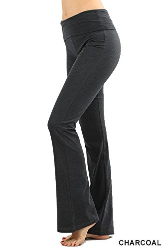 Zenana Premium Cotton FOLD Over Yoga Flare Pants, Charcoal, Medium