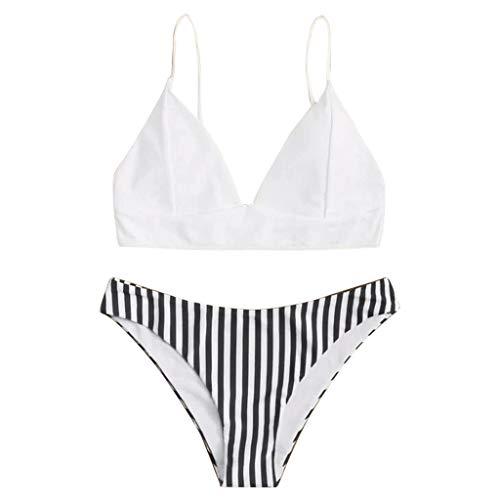 xingguang Traje de baño de mujer 2021 dos piezas Push-Up acolchado sujetador playa bikini conjunto traje de baño playa traje de baño biquini traje de baño mujer brasileña (color: blanco, tamaño: L)