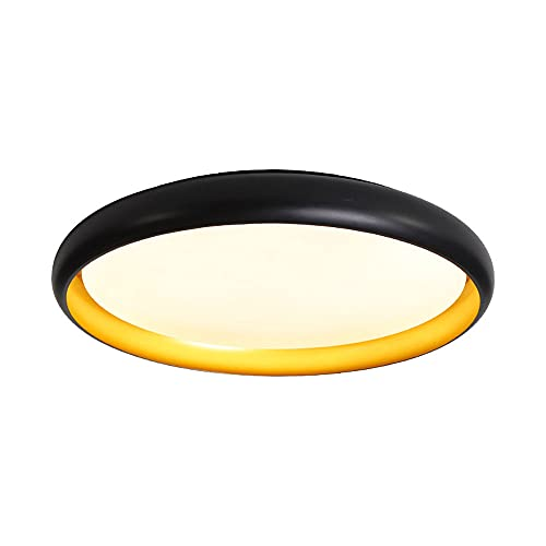 LPFWSK Lámpara de techo redonda ultrafina negra Ajustable 3000K-6000K Lámparas de bajo consumo Montaje empotrado Accesorios de iluminación para el hogar Estilo simple y moderno Dormitorio Sala de esta