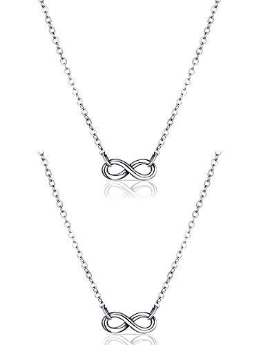 2 Piezas Collares Infinitos Collar de Plata con Símbolo de Smistad Infinita Collar de Amistad para Mujeres Niñas Navidad San Valentín