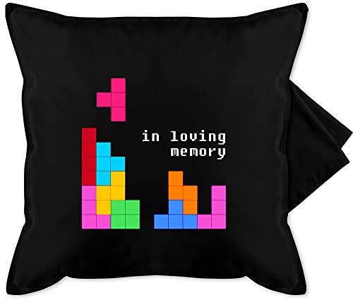 Shirtracer Kissen Hobby - Tetris in Loving Memory - Unisize - Schwarz - Geschenk - GURLI Kissenhülle - Kissenbezug 50x50 cm und Dekokissen Bezug