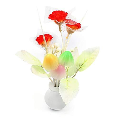 Onsinic Sensor Coloridas Luces nocturnas luz de la Novedad 1pcs Noche roja LED de luz de lámpara Enchufe de EE.UU. Mushroom Flor de la Planta Lila
