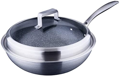 YONGYONGCHONG Wok Capa DE Wok de Acero Inoxidable para el hogar Cocina Antiadherente Cocina Gas sin Humo Pequeño Fondo Redondo