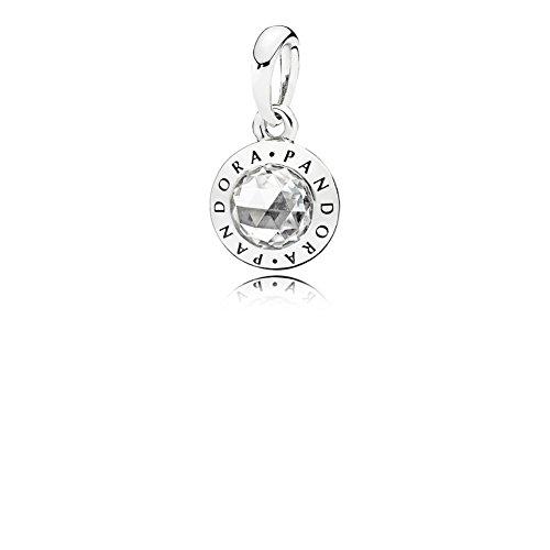 PANDORA 396217CZ Pendant Necklace Sterling Silver Radiant Logo Necklace Pendant, Classic Vintage