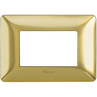 Bticino Matix Placca 3 Moduli 3 Posti Interruttori Prese Materiale Tecnopolimero (Oro Satinato - AM4803GOS)