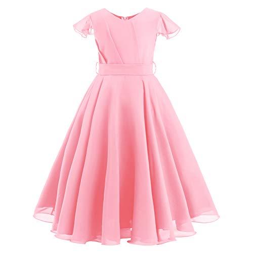 IWEMEK Vestido de verano para niña con volantes, manga de gasa, vestido de boda, vestido de dama de honor, cumpleaños, fiesta, princesa, primera comunión, baile Rosa. 9-10 Años