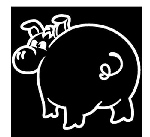 MDGCYDR Pegatinas Coche 15,3X13,8 Cm Plump Cartoon Pig Vinilo Coche Pegatina Negro/Plata Calcomanía Divertido Estilo De Coche
