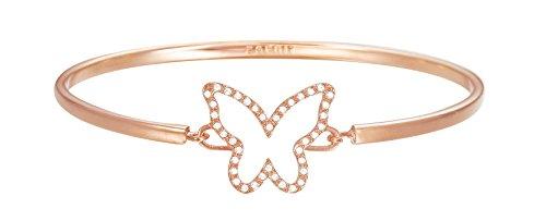 ESPRIT Damen-Armreif JW50219 Rose Schmetterling teilvergoldet Glas weiß 24 cm - ESBA01179C600