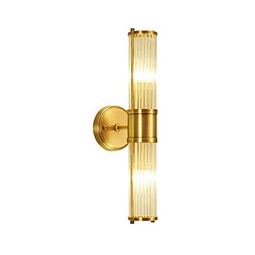 WENHAO Lámpara de Pared de Cobre Cilíndrica Transparente de Vidrio Shade Gold Bronce Dormitorio con Restaurante Aisle Baño Lavabo Lámpara de Mesa E26 Edison Bulb/Código de Productos básicos: LJW-211