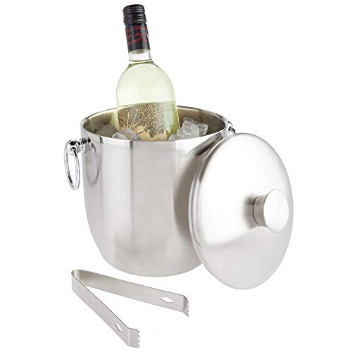 mDesign Modern Ice Bucket with Lid, Tongs and Side Handles - Double Wall Insulated Stainless Steel - for Entertaining, Parties, Barware - Holds Ice Cubes, Wine, Champagne - Brushed