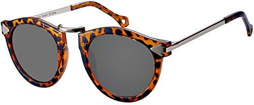 La Optica B.L.M. UV400 CAT 3 - Occhiali da sole da donna, rotondi, senza nasello Tortoise lucido (lenti: grigio). M