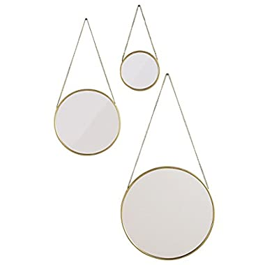 BrylaneHome Nevyn Hanging Mirrors, Set of 3 (Gold,0)