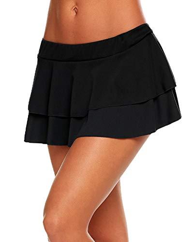 Avidlove Women Sexy Role Play Pleated Mini Skirt Solid Ruffle Lingerie(Black,L)