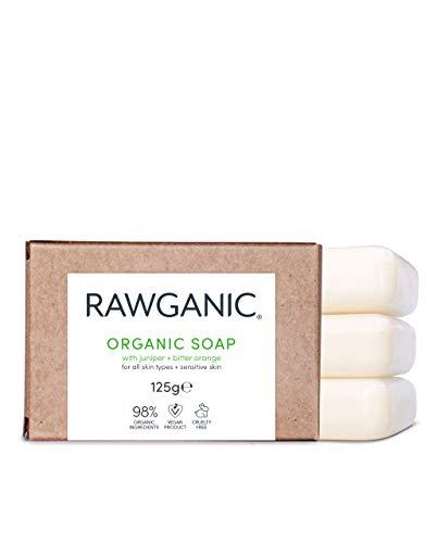 RAWGANIC® BIO Seife, für Hand und Körper - Feuchtigkeitsspendend, mit Extrakten aus Wacholder und Bitterorange - Gegen unreine Haut - Pilztötend und antiseptisch - Biologisch abbaubar