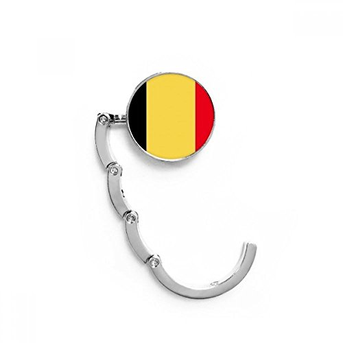 DIYthinker Bélgica Bandera Nacional Tabla Europa País Gancho Plegable del Bolso de Colgar Titular de Escritorio Plegable