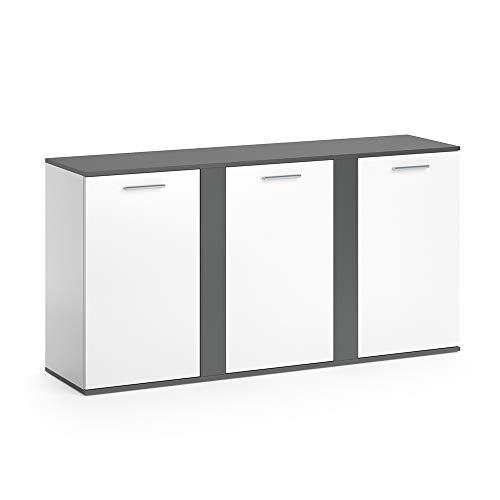 Vicco Sideboard NOVELLI Highboard weiß Kommode Anrichte Schrank 3 Türen (Weiß Anthrazit)