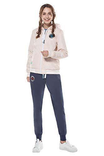 Mujer Traje de Ropa Deportiva de Tres Piezas Chándales Chaquetas Conjuntos de Chaqueta Impermeable Reversible Pantalones suéter de Las señoras 3pcs Conjuntos (XL, Rosada)