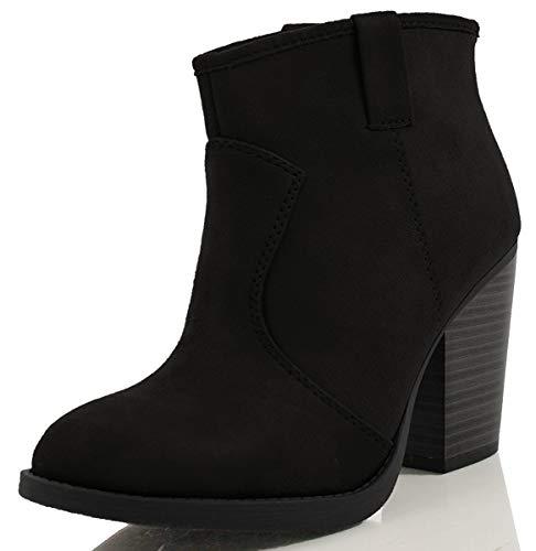 Soda Women's Albert Faux Suede Cowboy Pull-Tab Stacked Heels Ankle Booties,Black,6