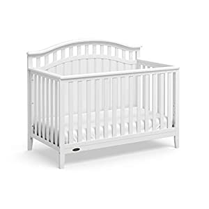 Graco Harper 4-in-1 Convertible Crib (White) Easily Converts to Toddler Bed, Day Bed, or Full Bed, Three Position Adjustable Height Mattress, Some Assembly Required (Mattress Not Included)