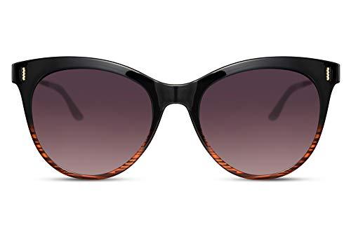 Cheapass Gafas de sol Tamaño Normal de Negro a Tigre Montura Mariposa con Lentes Graduales Negras Patillas Metálicas con protección UV400 para Mujeres