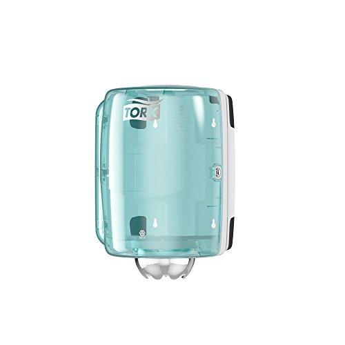 Tork 659000 Innenabrollungsspender für M2 Papierwischtücher im Performance Design / Wischtuchspender für hygienische Einzeltuchentnahme in Weiß-Türkis