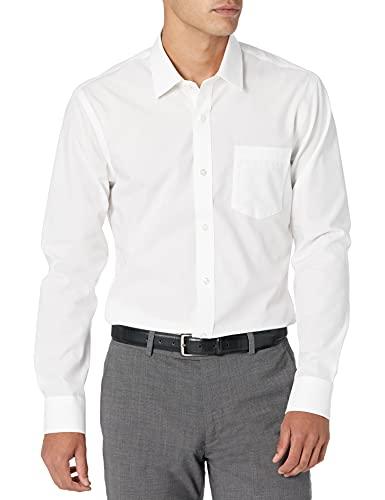 "Amazon Essentials Slim-Fit Wrinkle-Resistant Long-Sleeve Solid Dress Shirt Camicia, Bianco (White), 16"" Neck 34""-35"" (Taglia Produttore:)"