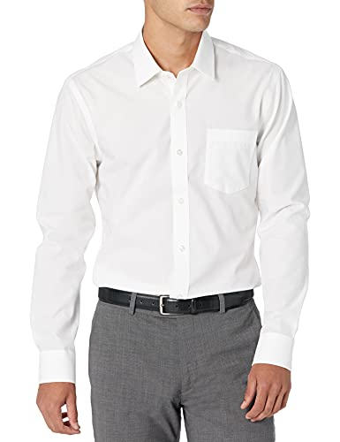 Amazon Essentials Slim-Fit Wrinkle-Resistant Long-Sleeve Solid Dress Shirt, White, 15.5' Neck 34'-35'