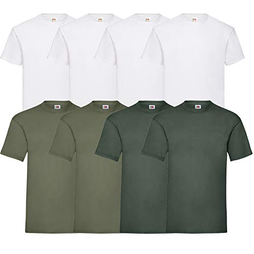 Fruit of the Loom 8 T Shirts Valueweight T Rundhals M L XL XXL 3XL 4XL 5XL Übergröße Diverse Farbsets (M, 4Weiß/2Olive/2Schoko)