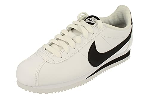 Nike Femmes Classic Cortez Leather Trainers 807471 Sneakers Chaussures (UK 4.5 US 7 EU 38, White Black White 101)