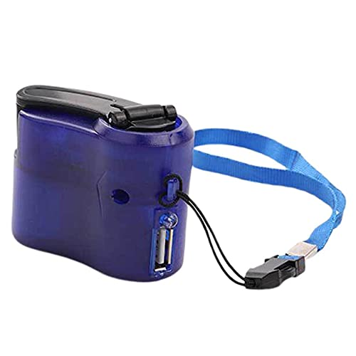 Color Yun Cargador de manivela Generador Manual Cargador de Emergencia para teléfono móvil Cargador USB (Azul)