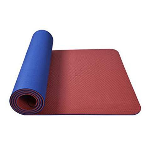Tappetino yoga - Strato Antistrappo A Doppio Strato con Rivestimento A Doppio Strato, Senza Gusto, Tappetino in TPE Yoga Ad Alto Rimbalzo (183X65 Cm) per Esercizi di Pilates,C