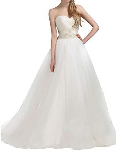 Vestido de novia con escote corazón de tul