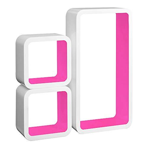 Laneetal Set di 3 Mensole a Cubo da Parete Mensole Colorate Porta Libri a Muro Design Moderno Scaffale retrò per Decora Soggiorno, Rosa 0640008