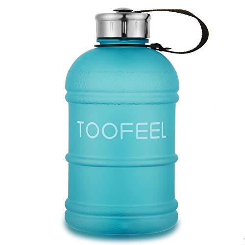 Botella de agua de medio galón, libre de BPA, 2,2 litros, grandes botellas de agua, a prueba de fugas, reutilizables, grandes con boquilla, botella de agua para gimnasio para deportes