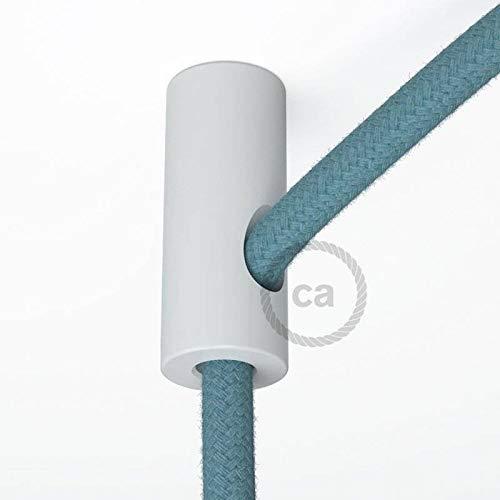 creative cables Decentratore, Gancio a soffitto Bianco per Cavo Elettrico Tessile con Fermo.
