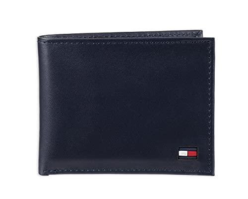 Tommy Hilfiger - portafolios de piel para hombre con 6 bolsillos para tarjetas de crédito y ventana de identificación extraíble, Azul marino Dore., Talla única