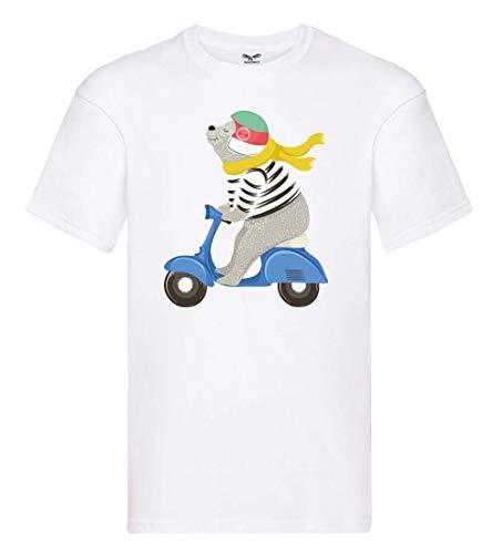 T-Shirt - Bär Motorroller Motorrad Helm - Tshirt für Herren und Männer