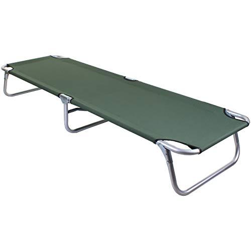 Marko Outdoor Sun Lounger Green Folding Go Flat Outdoor Garden Foldable Day Bed Aluminium