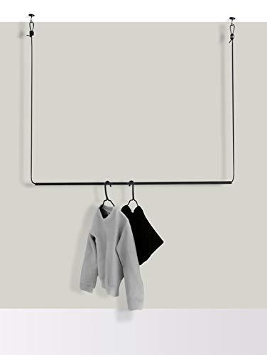 Hosenschnecke Hängegarderobe Textilkabel und Metallrohr | Designer-Kleiderstange 1,20m in Schwarz | inkl. Deckenbefestigung | ideal für Nischen und kleine Räume | anpassbare Länge | abriebfest