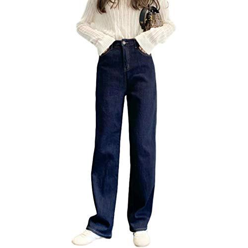 Luandge Pantalones Vaqueros de Pierna Recta Retro Streetwear para Mujer Pantalones de Mezclilla Desgastados relajados de Cintura Alta a la Moda para Todas Las Estaciones XL