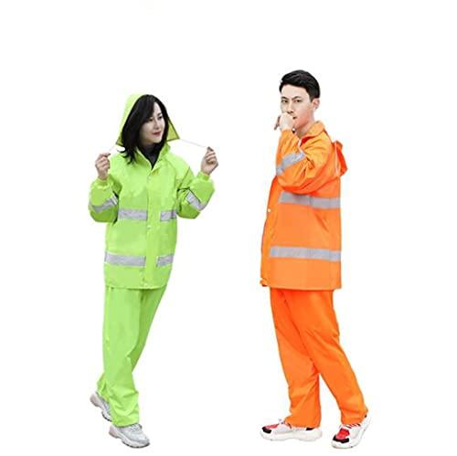 Impermeable impermeable para senderismo, para exteriores, pantalones de lluvia para adultos, hombres y mujeres, de doble capa gruesa y antitormentas (color naranja, tamaño: grande)