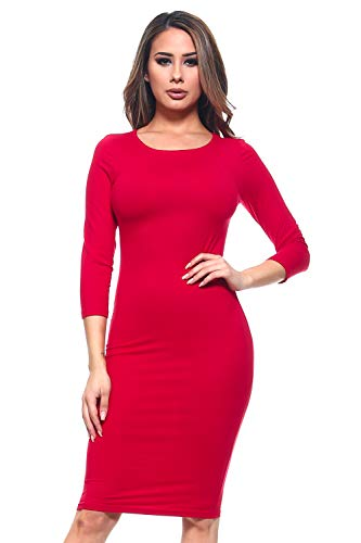 Reba's Red Dress Costumes - ICONOFLASH Women's Crimson 3/4 Sleeve Bodycon