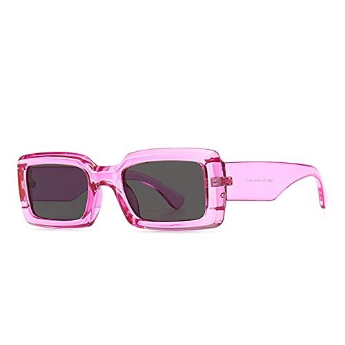 YOJUED Gafas de sol rectangulares para hombre y mujer, estilo retro, protección UV400, morado,