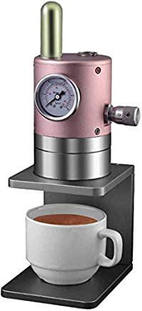 AMAZACER Human Powered Manual Espresso Press Environmentally Friendly No Plugs Easy To Clean Detachable Brewing Head Completely Portable Aerodynamic Design,grey (Color : Pink)