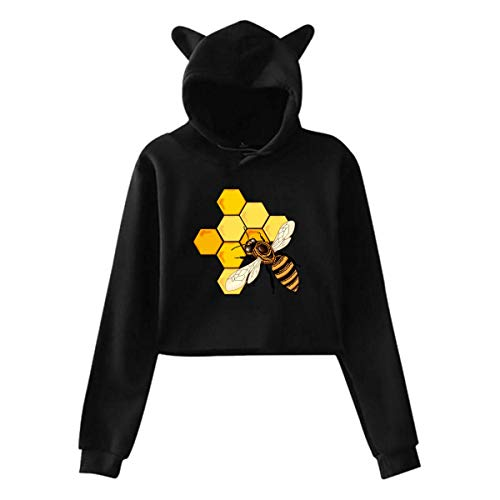 shenguang Sudadera con Capucha de Manga Larga con Top Corto para Mujer, Jersey con Orejas de Gato y Abeja, Camiseta Informal